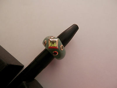 Solid Green Jade & 14k Gold Ring With Peridot,Ruby,Amethyst,Emerald  Sz 6