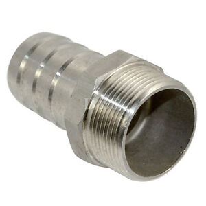 "OD 1//8/"" x 8mm Male Thread Pipe Fitting Barb Hose Tail Connector Stainless Steel"