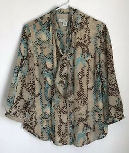Coldwater-Creek-Womens-L-Shirt-Blue-Brown-Button-Front-Blouse-Tie-3-4-Sleeve
