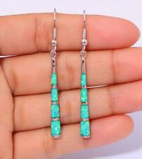 **NEW IN**Silver/Rhodium Plated SEA GREEN LAB FIRE OPAL Long Earrings 32x4mm