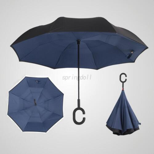Folding C-Handle Windproof Umbrella Double Layer Pattern Upside Down Inverted