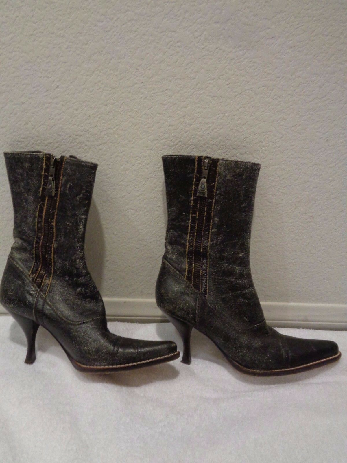 Mui Mui brown distressed ankle tall Boots SZ 36.5 6.5