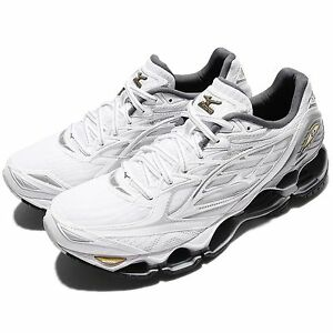 Image is loading Mizuno-Wave-Prophecy-6-White-Silver-Gold-Men-