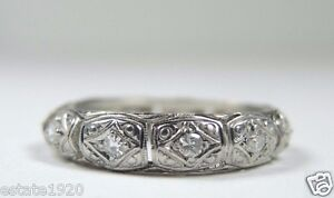 Antique-Art-Deco-Vintage-Eternity-Wedding-Band-Platinum-Ring-Size-5-25-EGL-USA