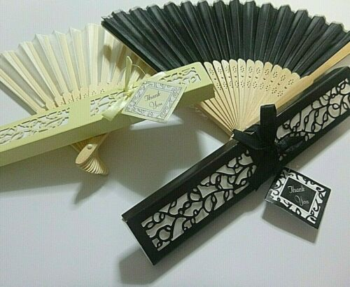 1 Elegant Gift Boxed Hand Held Asian Chinese Japanese Folding Fan Black Nuetral