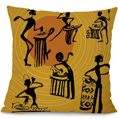 African Women Cushion Cover Cotton Linen Ethnic Car Bed Sofa Waist Pillow Case