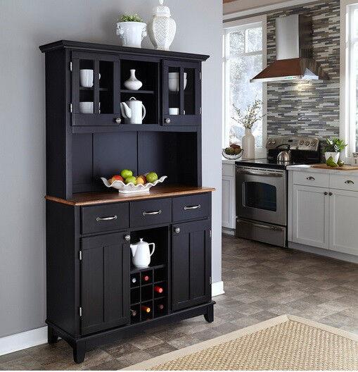 Black Buffet Cabinet W Hutch Wine Rack Wood Storage Server Top Kitchen Dining