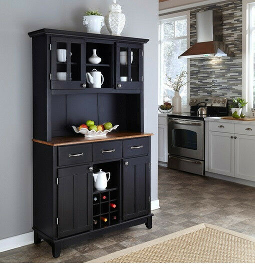Black Buffet Cabinet W Hutch Wine Rack Wood Storage Server Top Kitchen Dining