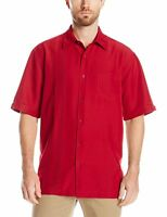 Havanera Men's Contrasting Asymmetrical Front Panel Ss Woven Shirt Large Red