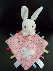 L4-Mon-doudou-plat-Lapin-NICOTOY-avec-mouchoir-blanc-rose-papillon-etiquette