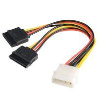 New 4 Pin IDE Molex to 2 of 15 Pin Serial ATA SATA HDD Power Adapter Cable
