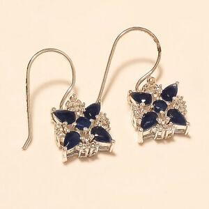 Natural-Ceylon-Sapphire-Earrings-925-Sterling-Silver-Handmade-Fine-Jewelry-Gifts