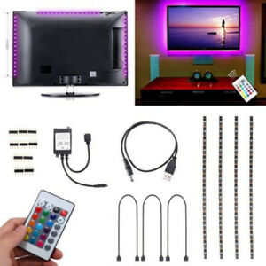 LED-USB-Backlight-TV-Hintergrund-Beleuchtung-Licht-Band-Stripes-Streifen-RGB-Neu