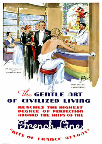 Wall art. : old Cruise ship advert Reproduction poster French line