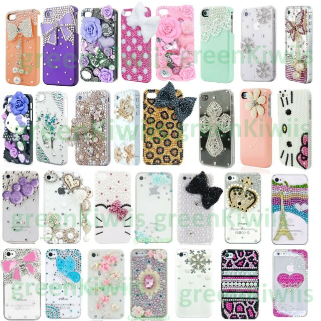 FOR APPLE iPHONE 7 6 5 LUXURY 3D CRYSTAL DIAMOND CASE BLING DIAMANTE HARD COVER