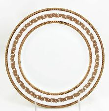 2 ANTIQUE T&V LIMOGES FRANCE CHINA LUNCHEON PLATES RAISED GOLD ENCRUSTED WHITE
