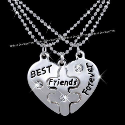 Mejores Amigos Collares hermanas Corazón Plata Navidad Regalos Para Ella Niña sobrina mujeres