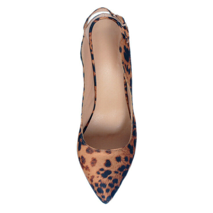 Sexy Women Pointy Toe Toe Toe Leopards Sandals Pointy Toe Slingback shoes Slip Plus Size 17aa3f