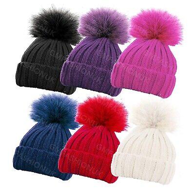 Kids Toddlers Girls Boys Knitted Ski Beanie Large Bobble Hat Pom Pom Winter Warm