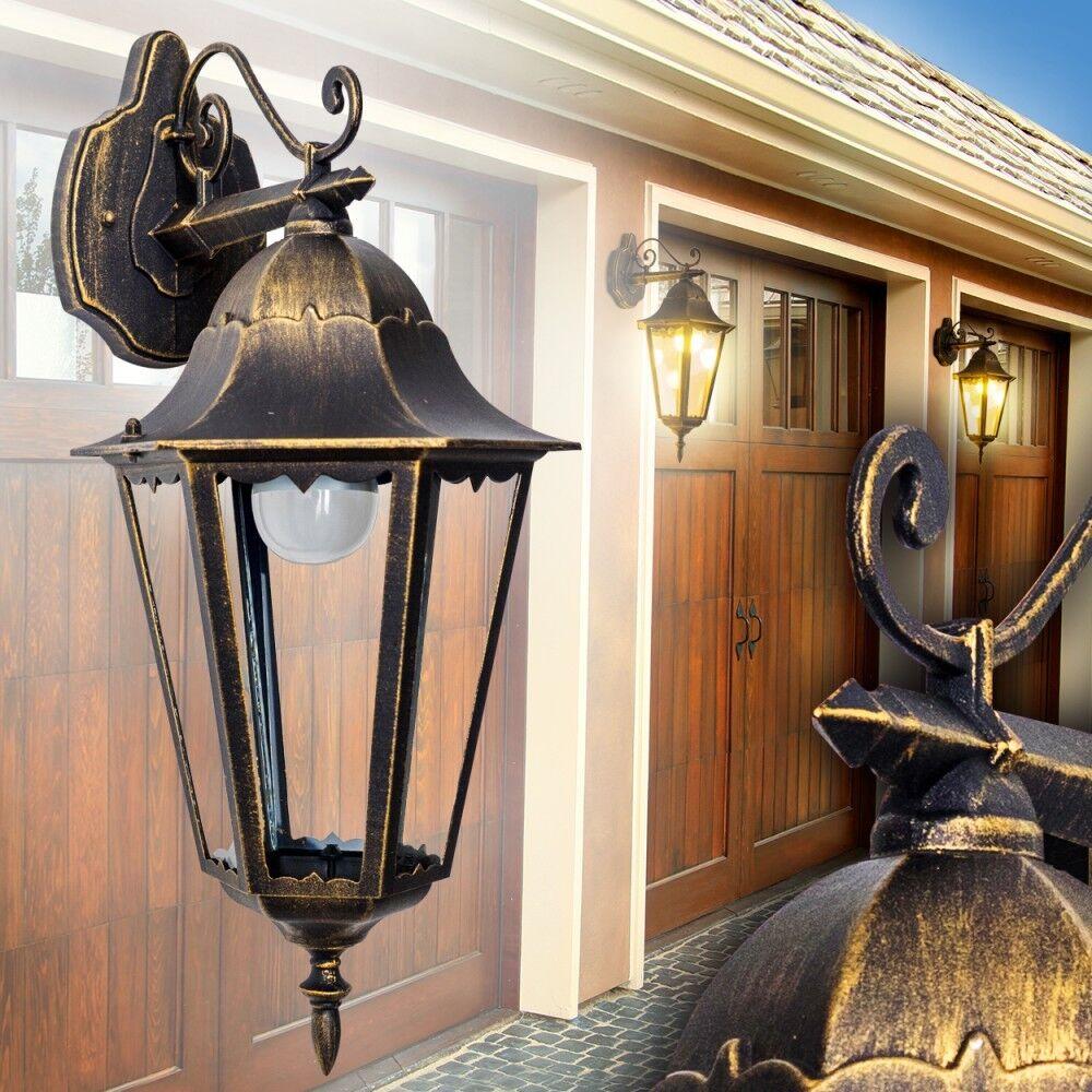 Lampada Alluminio marrón oro Dorato Luce Esterno Classico Lanterna Muro Parete