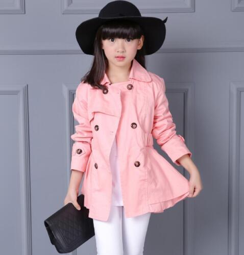 Kids Girls Belted Plain Button Jacket Trench Coat Windbreaker Outwear 4-12Years