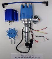 Ford Fe 352-360-390-427-428 Blue Small Cap Hei Distributor & 50k Volt Blue Coil