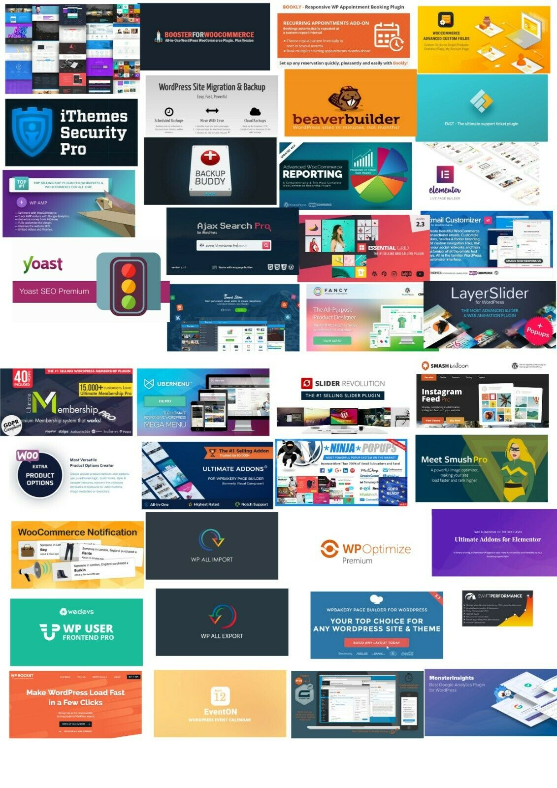 TOP 40 WORDPRESS AND WOOCOMMERCE PLUGINS - UNLIMITED USE!! - FREE UPDATES!! 2