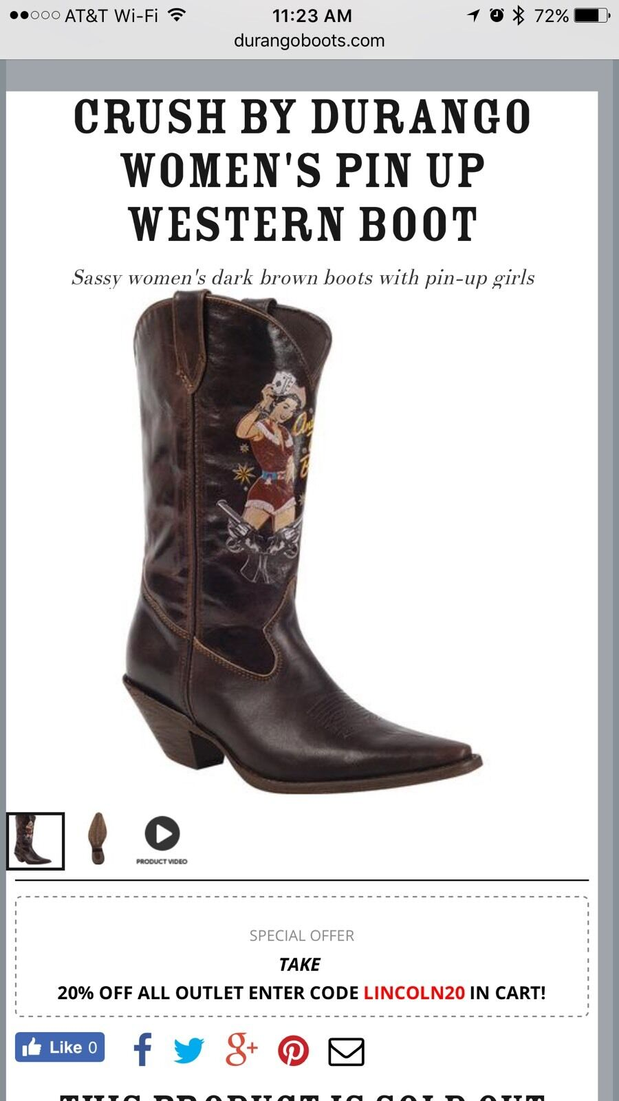 Durango Crush Western Cowgirl Pin Up Ante Up Boys Boots Brown Rd011 Women's 6.5