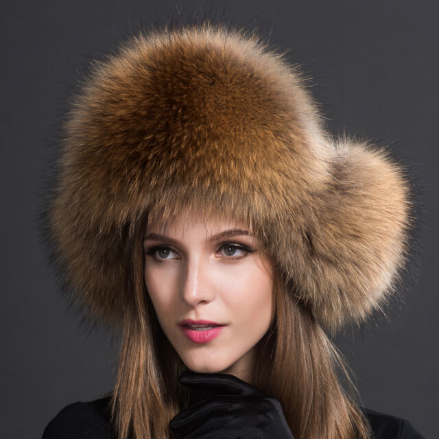 Women Real Raccoon Fur Hat Russian Winter Warmer Ear Cap Ushanka Cossack Warmth For Sale Online