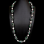 """thumbnail 2 - Cultured White Rice Pearl Green Agate Black Rhinestone Pave Necklace 32"""""""