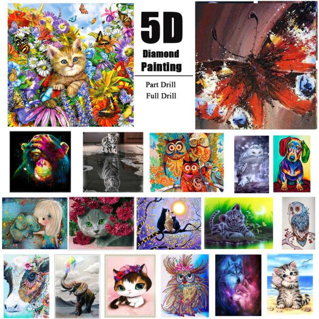 5D DIY Diamond Painting Animals Embroidery Cross Stitch Kit Home Decor