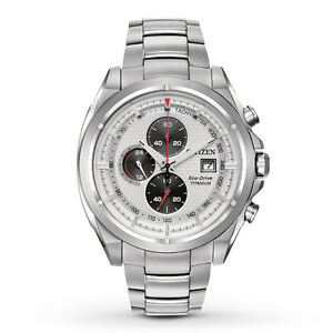 Citizen-Eco-Drive-Men-039-s-CA0550-87A-Chronograph-Titanium-Bracelet-Watch