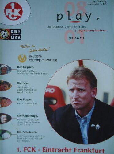 FC Kaiserslautern Eintracht Frankfurt Programm 2000//01 1