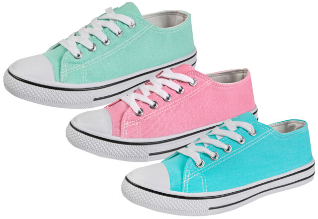 Pumps Ladies Womens Casual Lace Up Pastel Summer Trainers Shoes