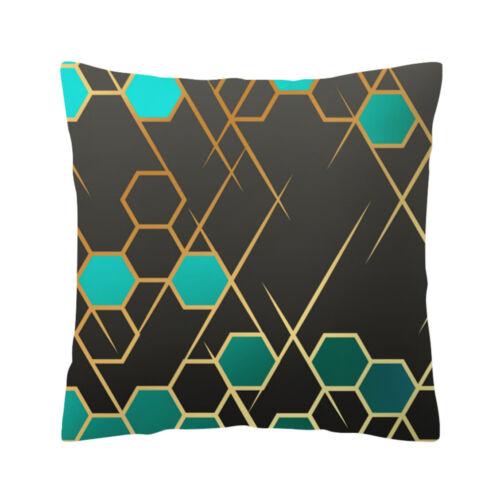 "1X Rose Black Gold Cushion Cover Square Pillowcase Home Sofa Decoration 18/""x18/"""