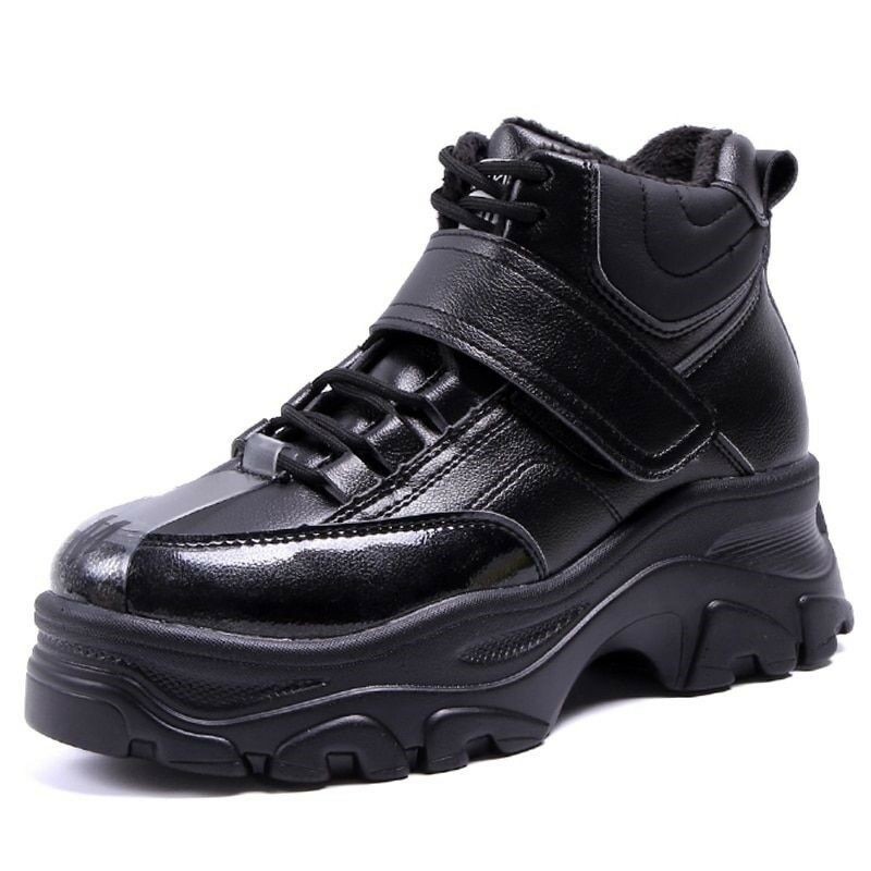 Woman Warm Waterproof Boots Platform Ankle Height Increasing Thick Sole shoes