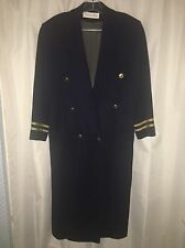 CHRISTIAN DIOR Navy WOOL Sailor MILITARY Nautical LOGO BUTTONS Jacket Coat 8 M
