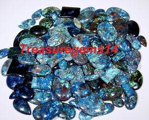 250Crt-WHOLESALE-LOT-NATURAL-ANTIQUE-DESIGNER-BLUE-AZURITE-MIX-CABOCHON-GEMSTONE