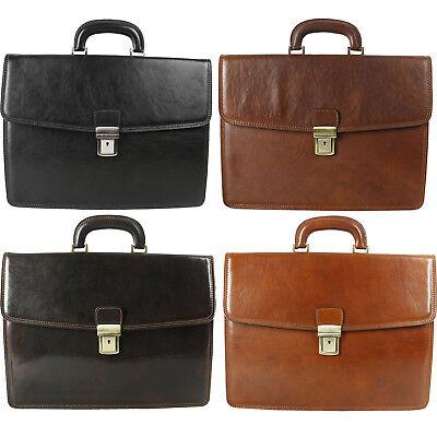 Mens Veg Tanned Bag Briefcase Messenger Work Office Shoulder Bag Leather BC006