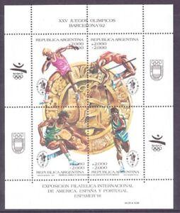 Argentinien-KB-MiNr-Block-47-postfrisch-MNH-Olympia-1992-Barcelona-Oly1133