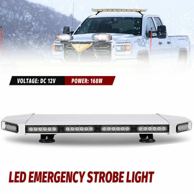 168W White//Red 56 LED Emergency Warning Flash Roof Top LED Strobe Light Bar