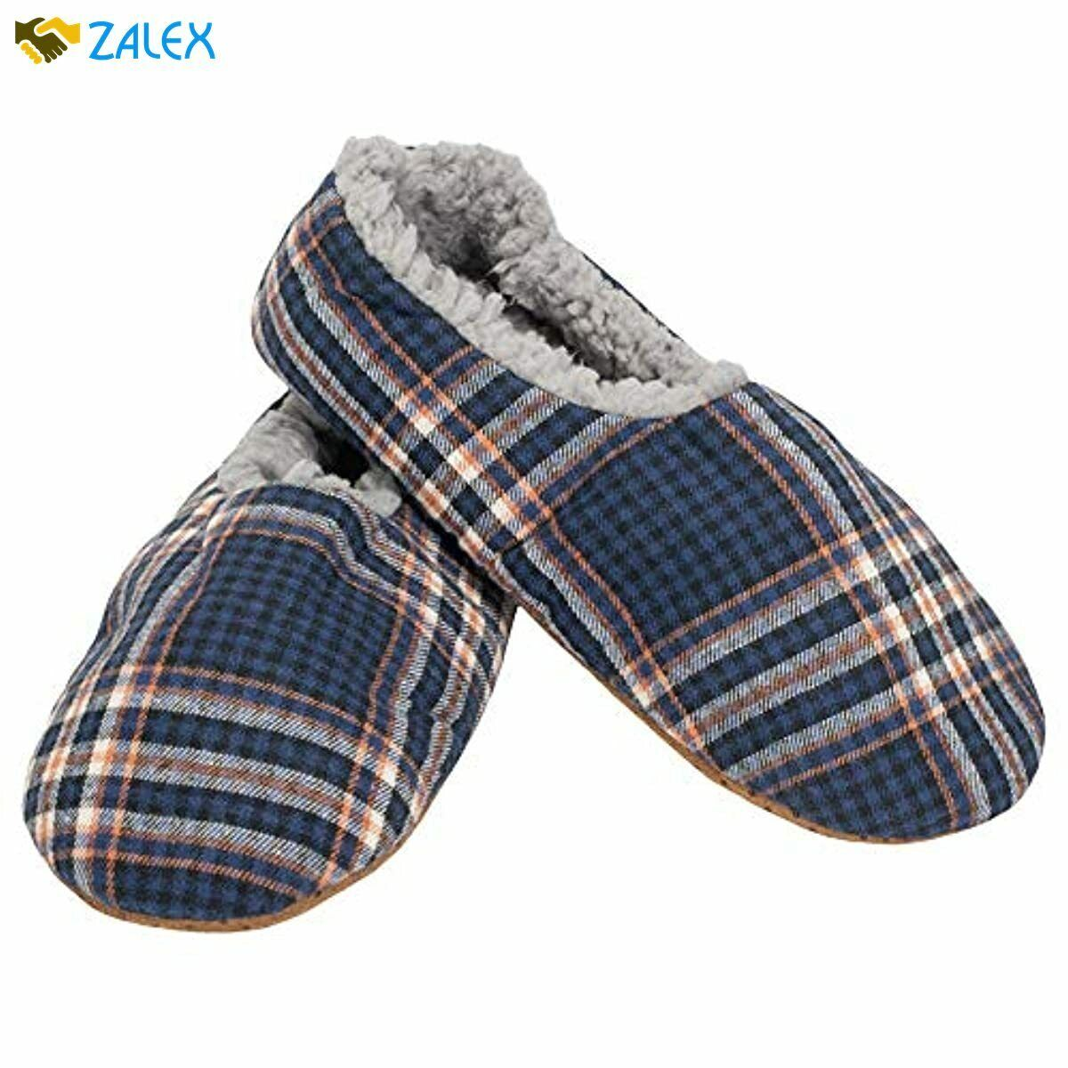 Mens Plaid Plush Lined Cozy Non Slip Indoor Soft Slippers