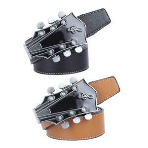 Luxury-Leather-Men-039-s-Music-Guitar-Buckle-Fashion-Waist-Strap-Belt-Waistband