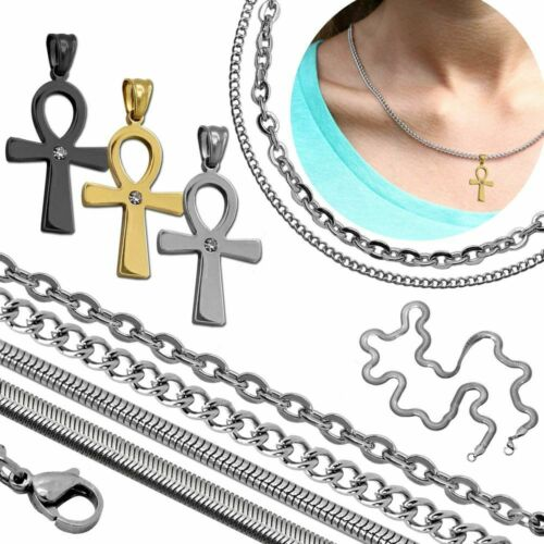 Ciondolo Croce di Ankh Anch Pendente Acciaio Catena Collana Donne Anchor Chain