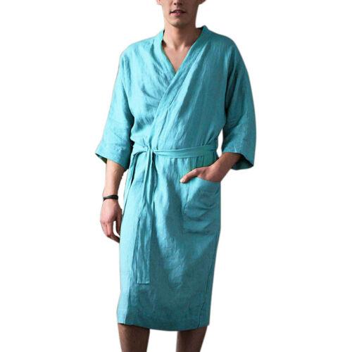 Summer Mens Wrap Bandage Pajamas Bathrobe Cotton Dressing Gown Kimono Loungewear
