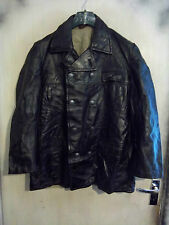 VINTAGE 40,S WW2 NORWEGIAN COAT FACTORY LEATHER JACKET SIZE M PEA COAT