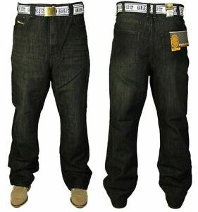 New-KAM-Mens-Big-Size-Jeans-Straight-Leg-Denim-Trousers-Free-Belt-Included