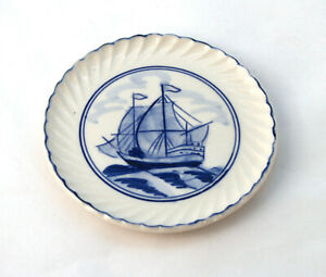 Vintage-Delft-Blue-amp-White-Hand-Painted-Sailing-Ship-Pin-Dish-Small-Plate