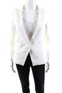 Capulet Womens Solid Notched Collar Blazer Style Jacket White Size XS