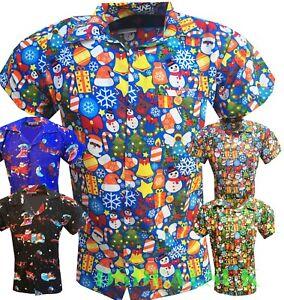 MENS-CHRISTMAS-SHIRT-T-SHIRTS-SANTA-XMAS-HAWAIIAN-HAWAII-PARTY-FANCY-DRESS